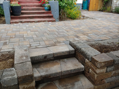 Pavers Patios with Stairs Entrace