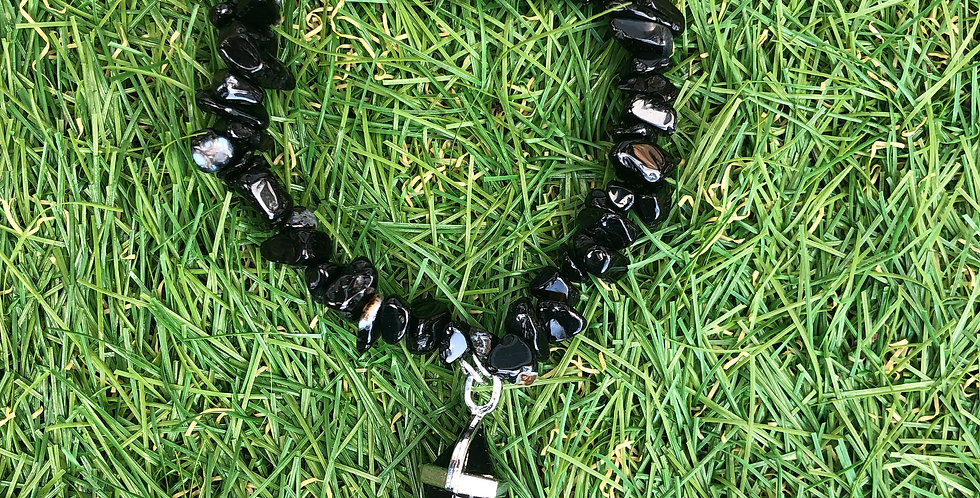 Black Tourmaline Chip Crystal Bracelet and Black Obsidian Pendant.