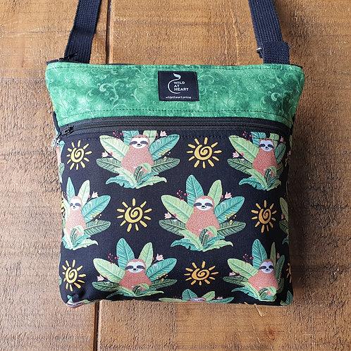 Sloth crossbody bag with zips