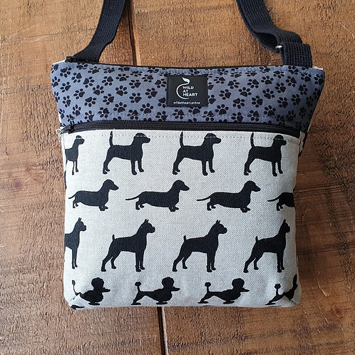 Black Dogs cross body bag with zippers
