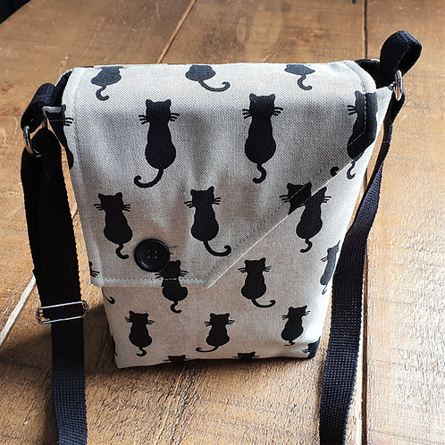 Black Cat Cross Body Canvas Bag