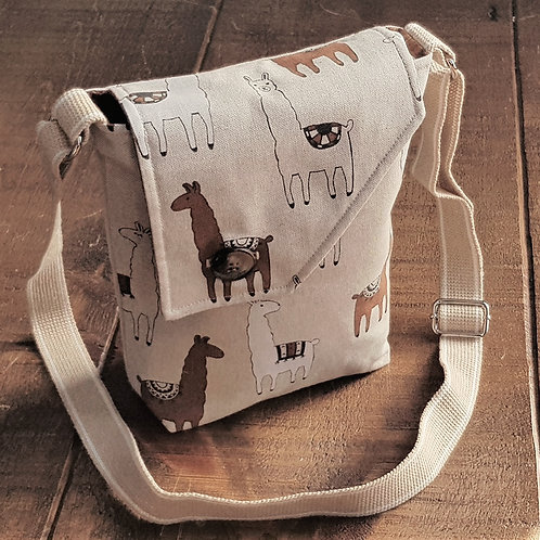 Llama Cross Body Canvas Bag