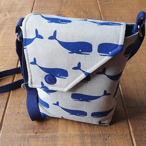 Whale Linen Cross Body Bag