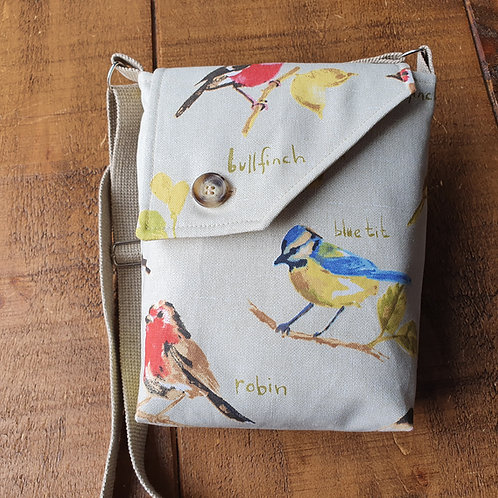 Cross body bag with different British garden birds