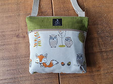 Cross body zipper bag with woodland animals - fox, owls