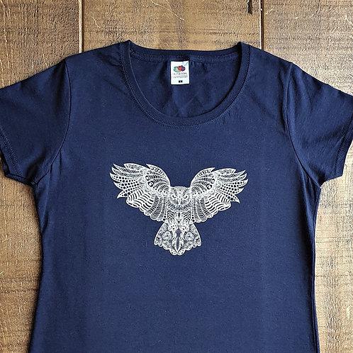 Owl T-Shirt - Hand printed 'zentangle' design