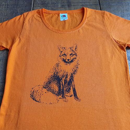 Fox T-Shirt - Hand printed ladies t-shirt