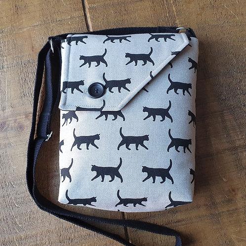 Walking Black Cat Cross Body Bag