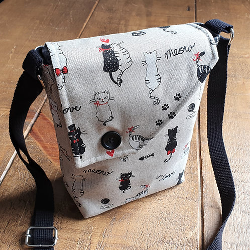 Cat Cross Body Canvas Bag