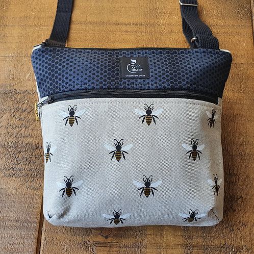 Worker bee cross body bag with zippers