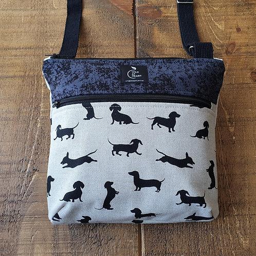 Cross body bag with Dachshund dog silhouettes