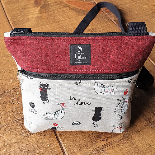 Cartoon cat bag - black and red