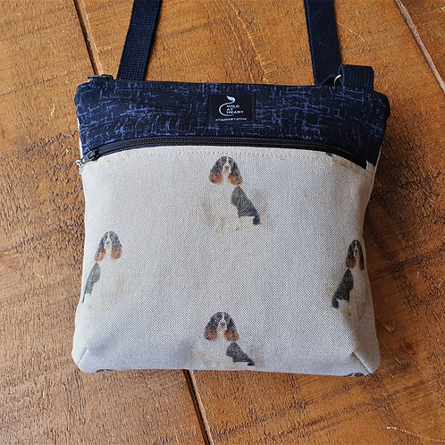 Springer Spaniel cross body bag with zips