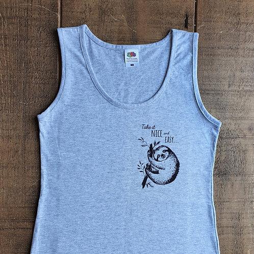 Sloth Vest Top - Hand printed ladies singlet