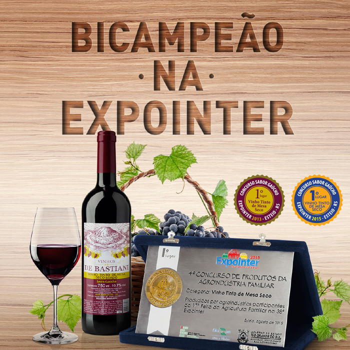 Vinho tinto de mesa De Bastiani é bicampeão na Expointer 2015