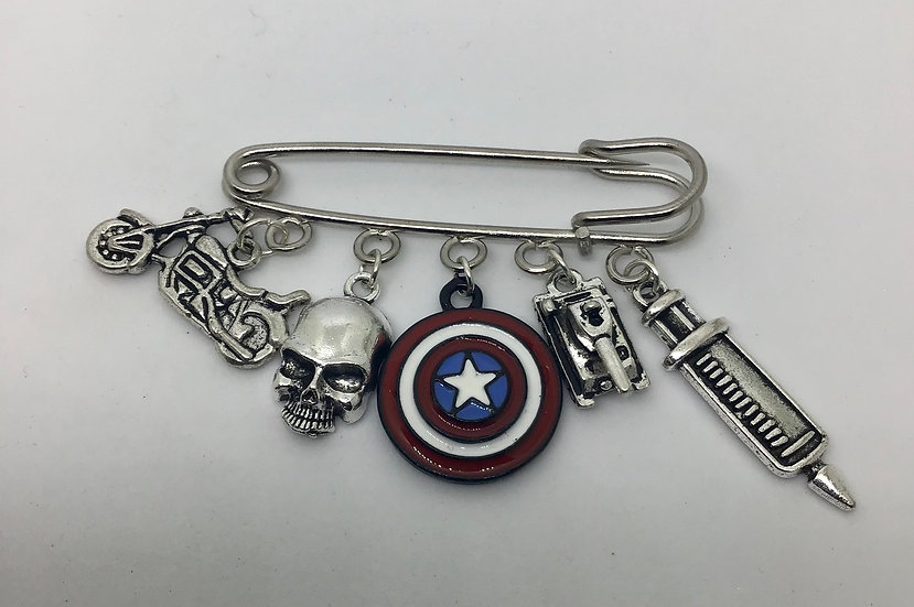 Captain America inspired kilt pin brooch