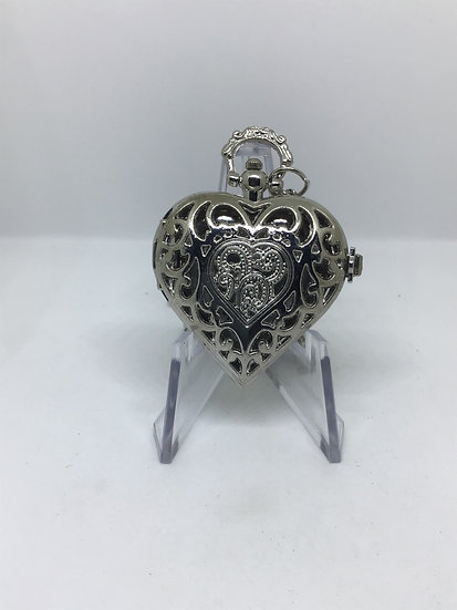 Silver coloured heart pocket watch