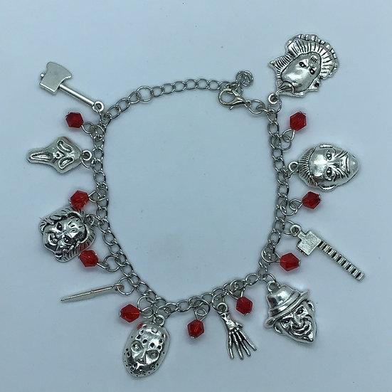 Horror silver coloured charm bracelet