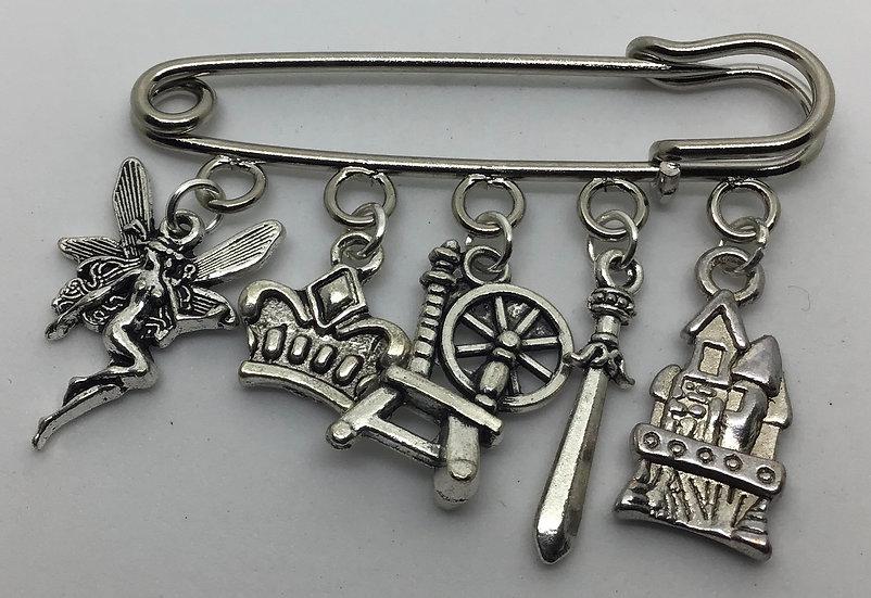 Sleeping Beauty inspired fairytale kilt pin brooch