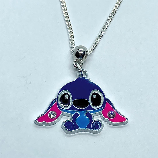 Stitch enamel pendant necklace
