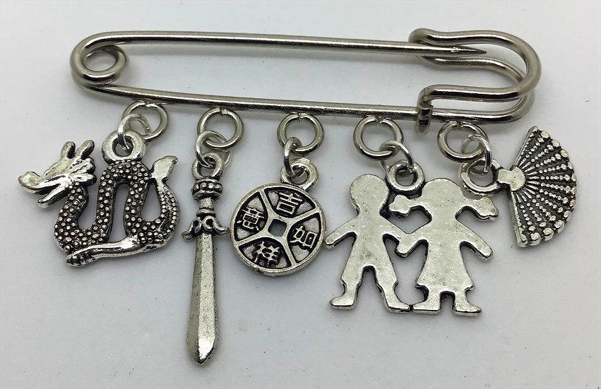 Mulan inspired fairytale kilt pin brooch