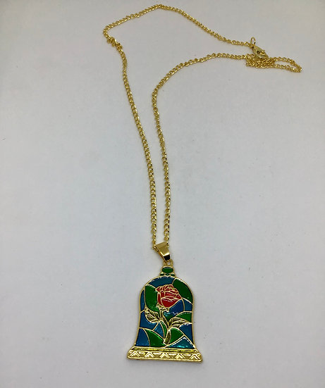 Beauty and the Beast inspired rose necklace