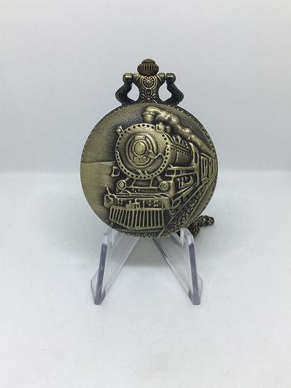 Bronze Steam Train Full Hunter Pocket Watch