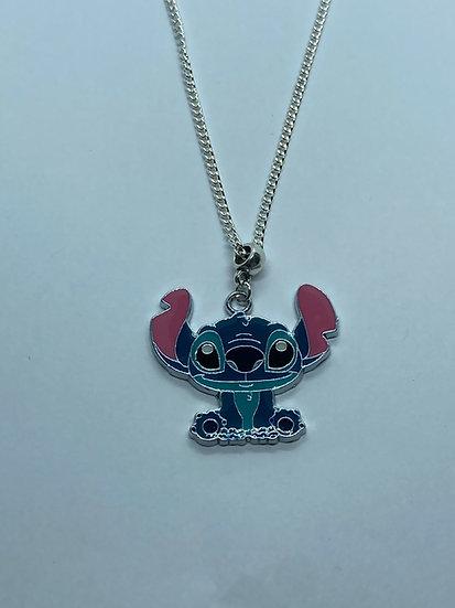 Stitch enamel necklace