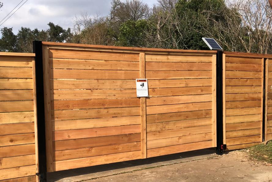 horizontal wood fence vehicle gate texas