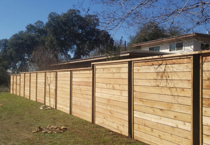 residential custom horizontal wood fence panels