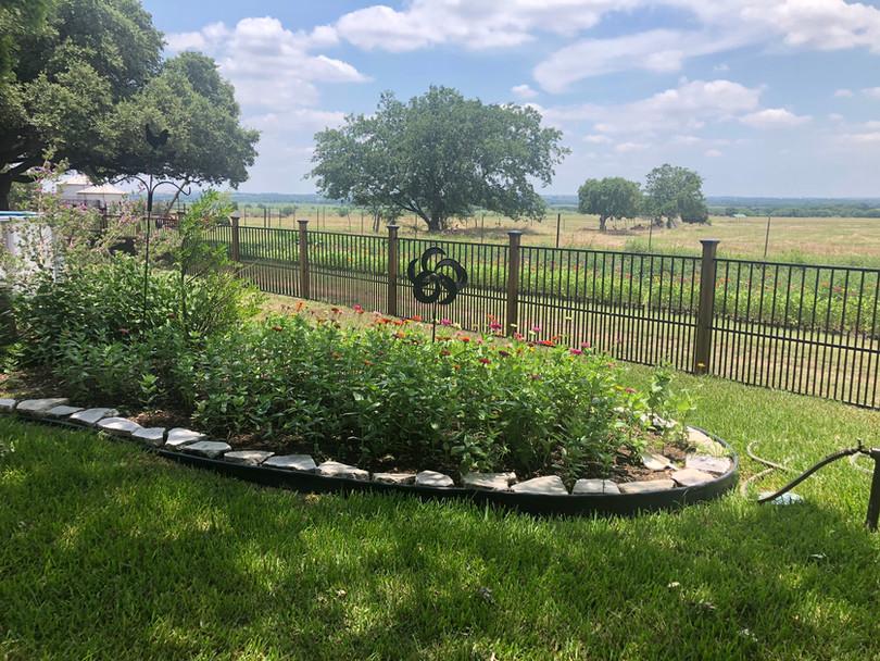 residential backyard custom iron fence