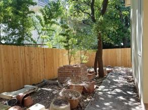 backyard custom wood fence installation