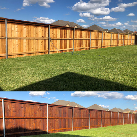 custom privacy wood fence before and after staining