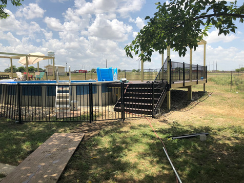 custom iron fence and railing for residential above ground pool