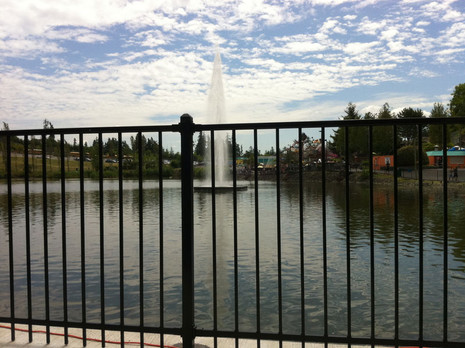custom iron fence for city government water feature