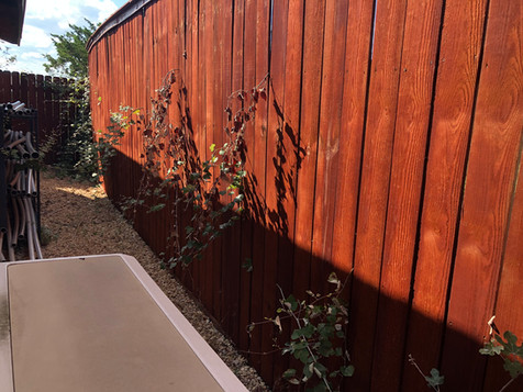 stained wood privacy fence