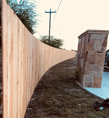 custom curved wood privacy fence austin