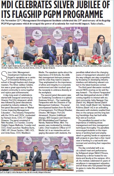 Hindustan Times - MDI Coverage