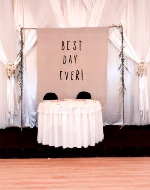 Metal Pole Arch and Personalized Canvas