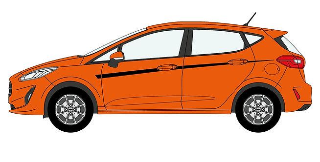 Fiesta Mk8 Upper Side Stripe Decal Set - Style 2 (5 Door Only)