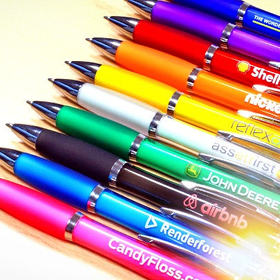 Printed Coloured Curvy Pens