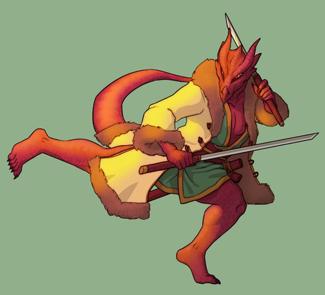 D&D Player Character - Half-Dragon Samurai