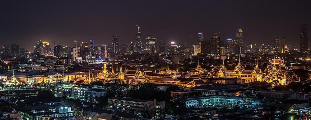 Vista aérea do Gran Palace em Bangkok