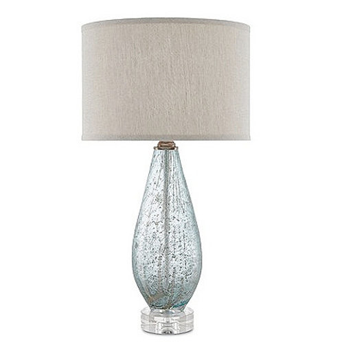Blue Speckled Glass Table Lamp|Light Blue Bedside Lamp|Linen Shaded Blue Lamp
