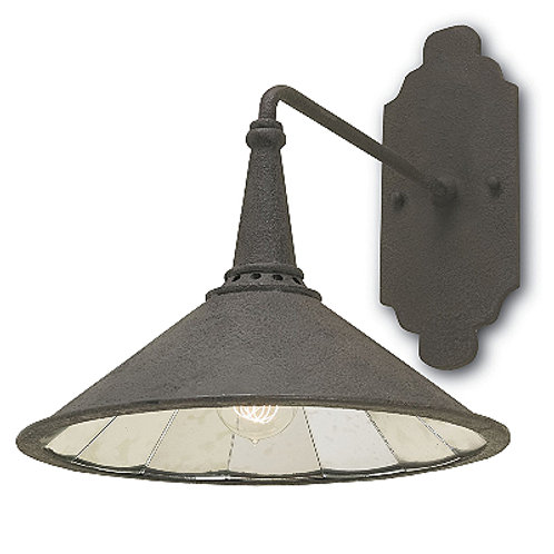 Black Rustic Shaded Wall Light in Iron with Mirrored Interior|Island Lighting
