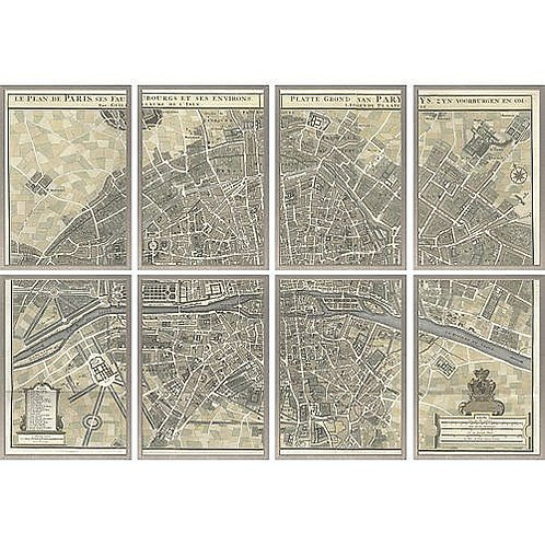 Paris Map in Sections Eight Framed Maps Silver Frame Giclee Print Bestseller