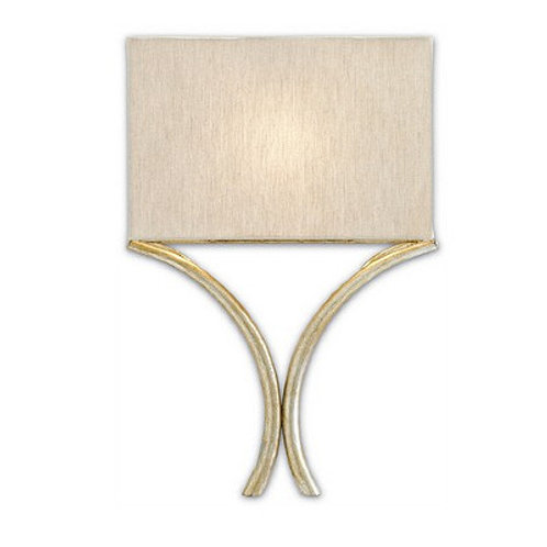 French Silver Modern Shaded Wall Sconce|Silver Leaf Finish|Linen Shade