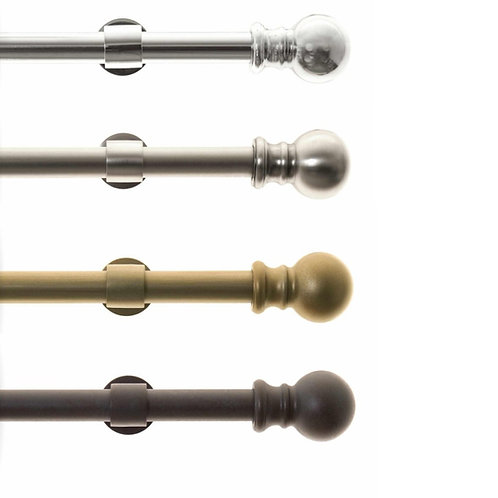 """Metal Drapery Rods 1"""" diameter with Ball Finials, Choose Color and Rod Length"""