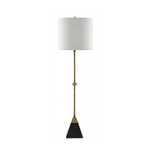 Brass and Granite Tapered Table Lamp Modern Console Lamp Vintage Brass Lamp