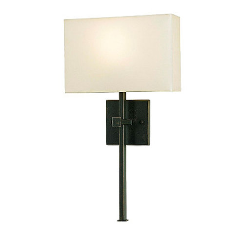Dark Bronze Shaded Wall Sconce Bronze Gold Finish Silk Shade Included